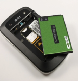 Paper Battery Company's ultracapacitor demonstrated in a Blackberry Bold, image courtesy of Paper Battery Company.