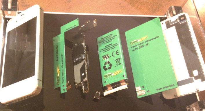 Paper Battery Company's ultracapacitor tech demonstrated in an iPhone, courtesy of Paper Battery Company.