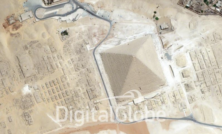 The Giza Pyramids in Egypt, as seen by a DigitalGlobe satellite. Photo courtesy of DigitalGlobe.