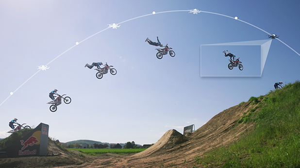 The drones track a target's movement to capture a steady stream of footage. Photo courtesy of Squadrone System.