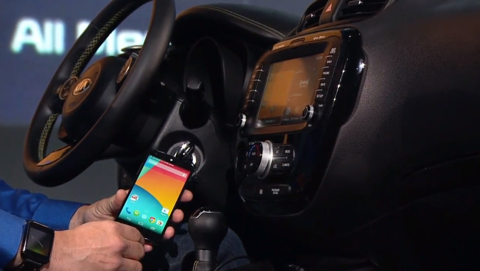 Android Auto creates a driver optimized version of your Android phone's UI on the dashboard (source: Google)