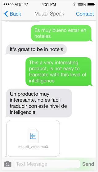 An example of three Muuzii services: Spanish to English, English to Spanish and Muuzii speak (Source: Muuzii)
