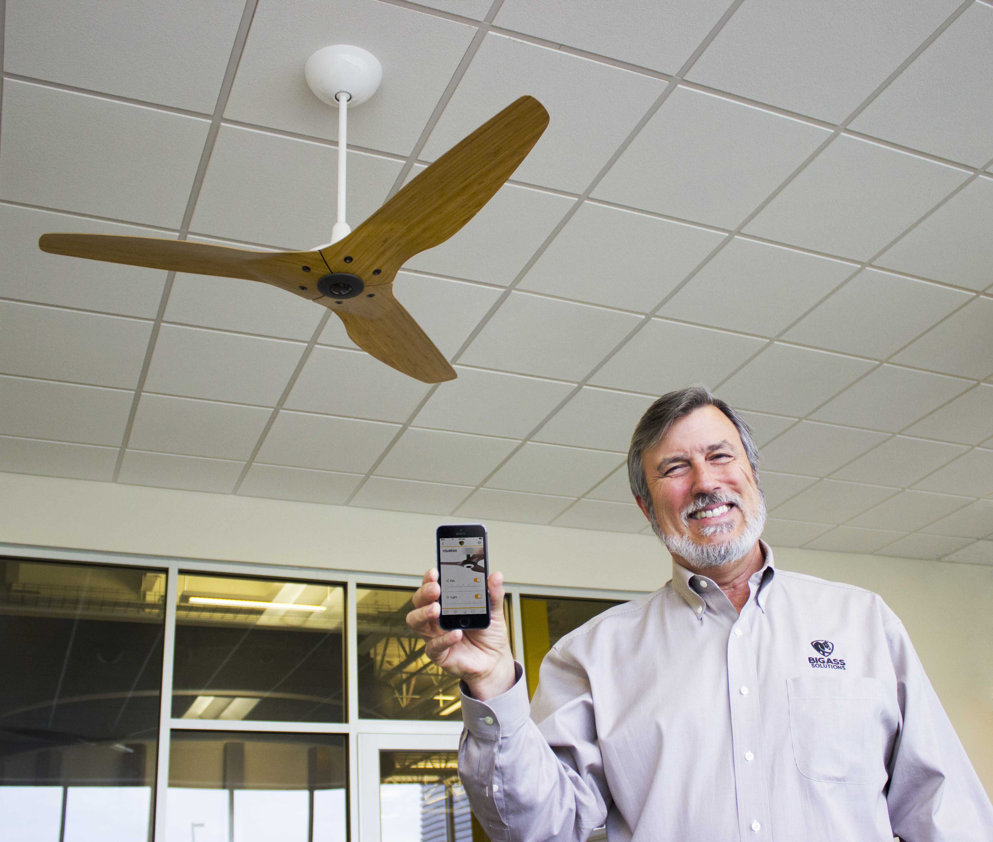 Big Ass Fans Founder and CEO Carey Smith  shows off the SenseME app and smart Haiku ceiling fan.