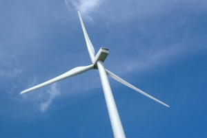 A wind turbine, image courtesy of Patrick Finnegan, Flickr Creative Commons.