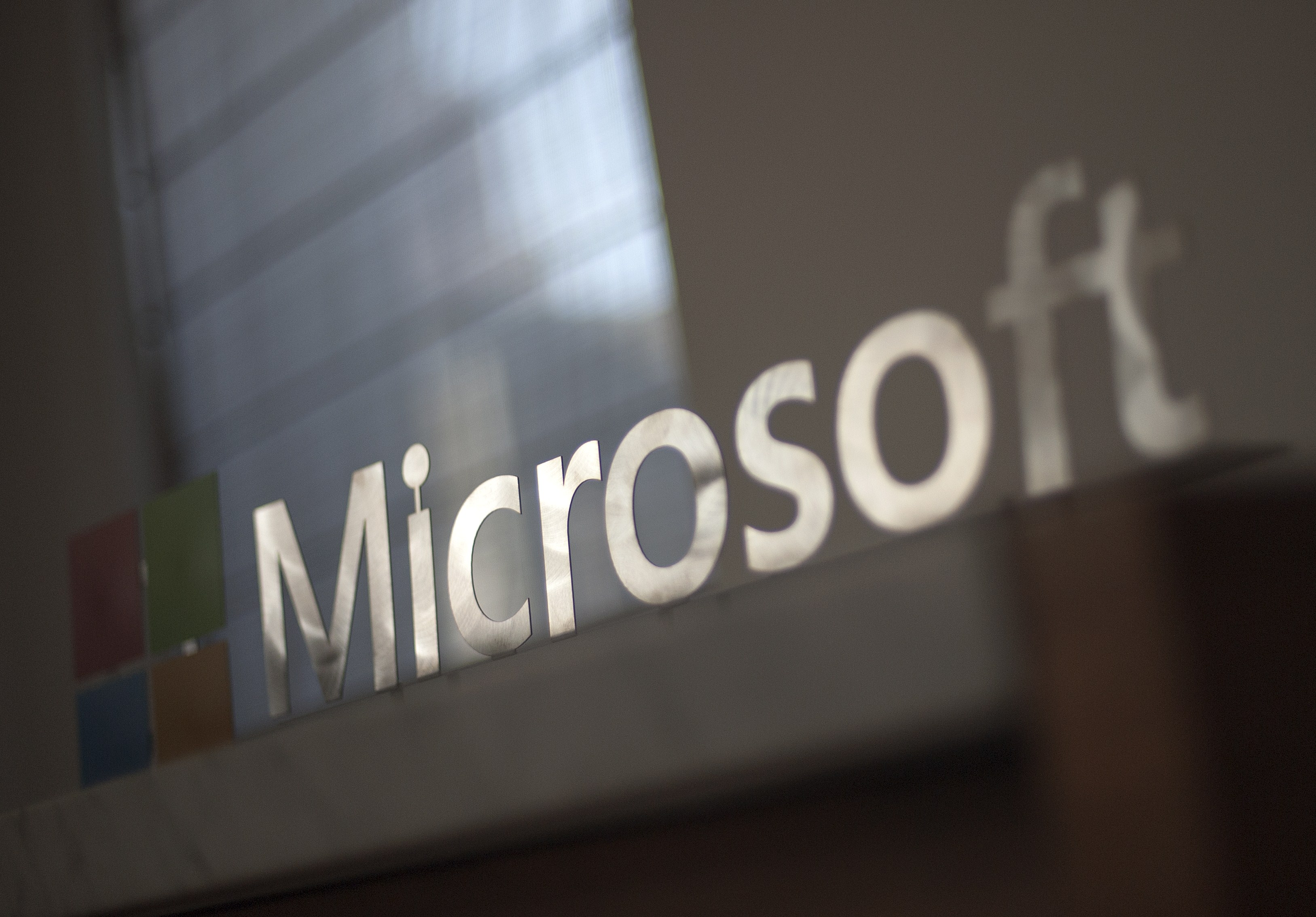 Microsoft's logo. Photo by Josh Edelson/AFP/Getty Images