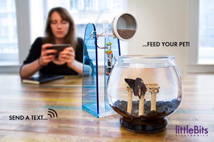 A fish feeder made with a LittleBits cloud bit.