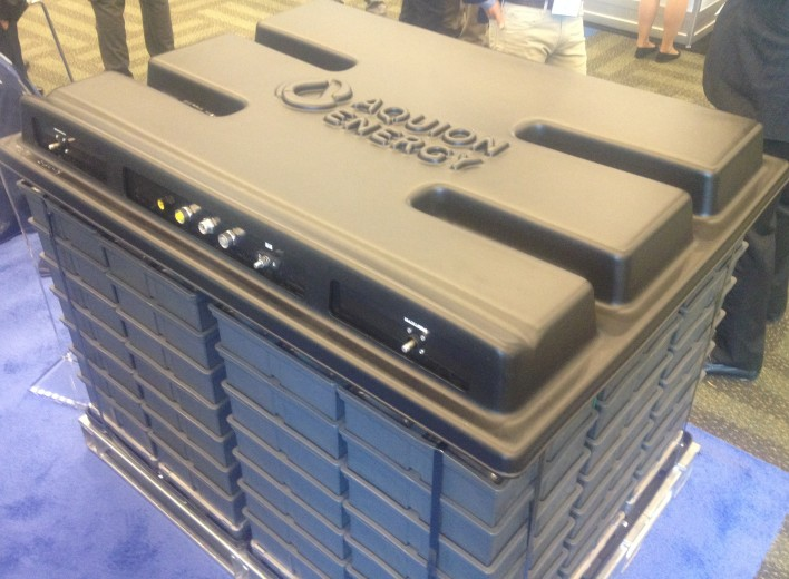A grid battery from Aquion Energy, shown at Intersolar. Image courtesy of Katie Fehrenbacher, Gigaom.
