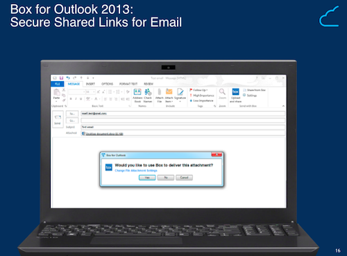 How sending links through email will look in new Box-friendly Outlook