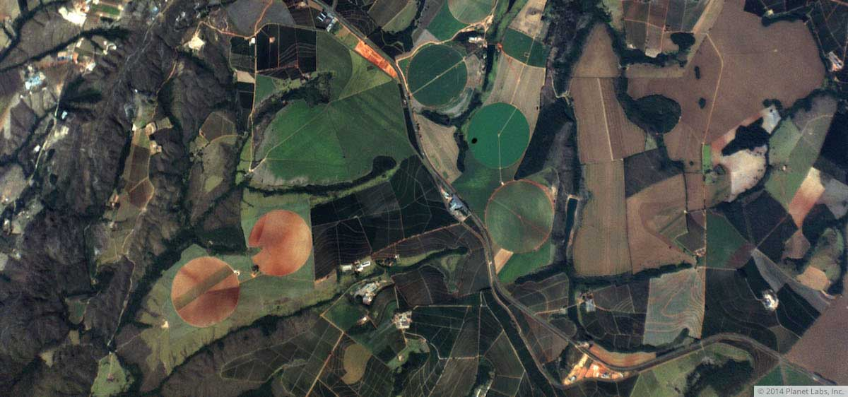Crops in Brazil, photographed by a Planet Labs Dove.