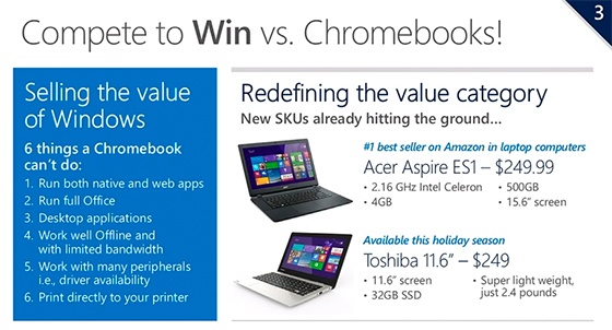 """Microsoft acknowledges the Chromebook threat, plans to """"redefine"""