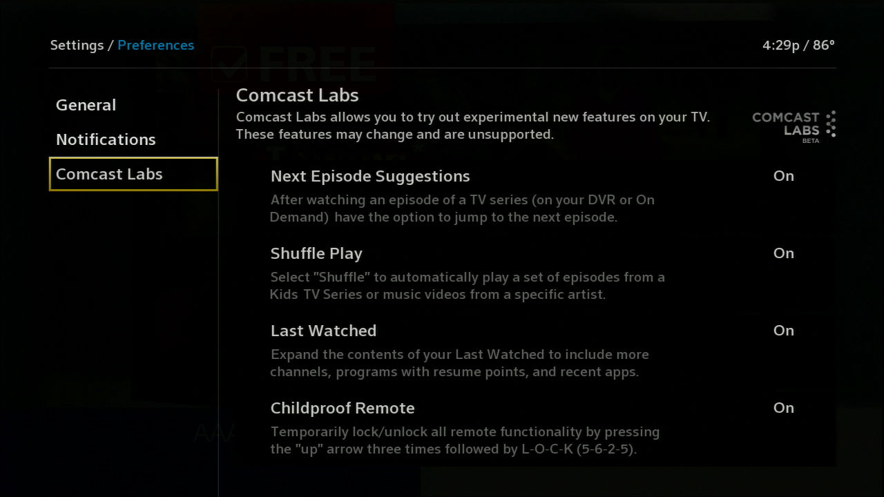Comcast Labs settings