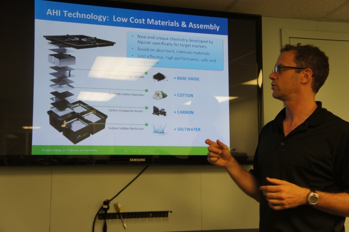 Aquion Energy founder Jay Whitacre explains the architecture of the battery. Image courtesy of Katie Fehrenbacher, Gigaom.