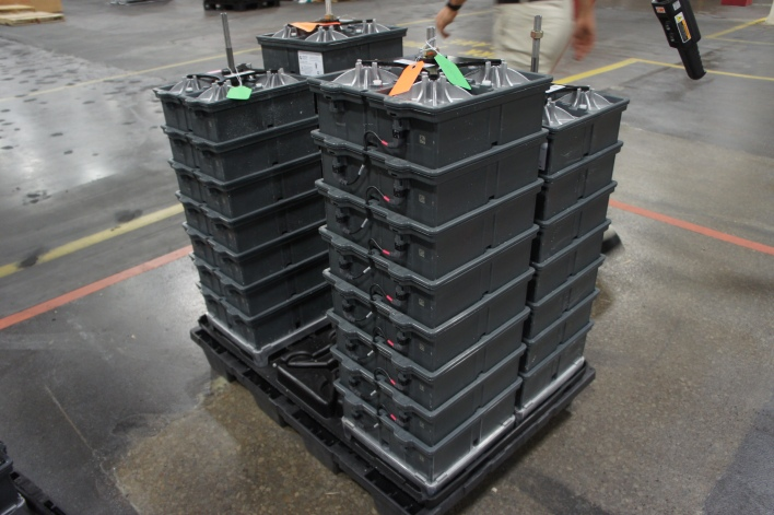 Battery units stacked up on the metal rods. Image courtesy of Katie Fehrenbacher, Gigaom.