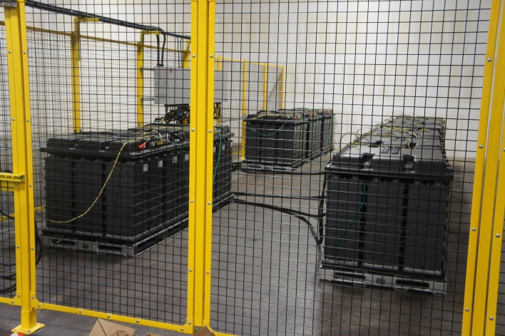 Battery modules being tested at Aquion's factory. Image courtesy of Katie Fehrenbacher, Gigaom.