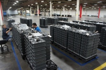 Stacks of Aquion Energy's batteries, built in its new factory in West Pennsylvania, Image courtesy of Katie Fehrenbacher, Gigaom.