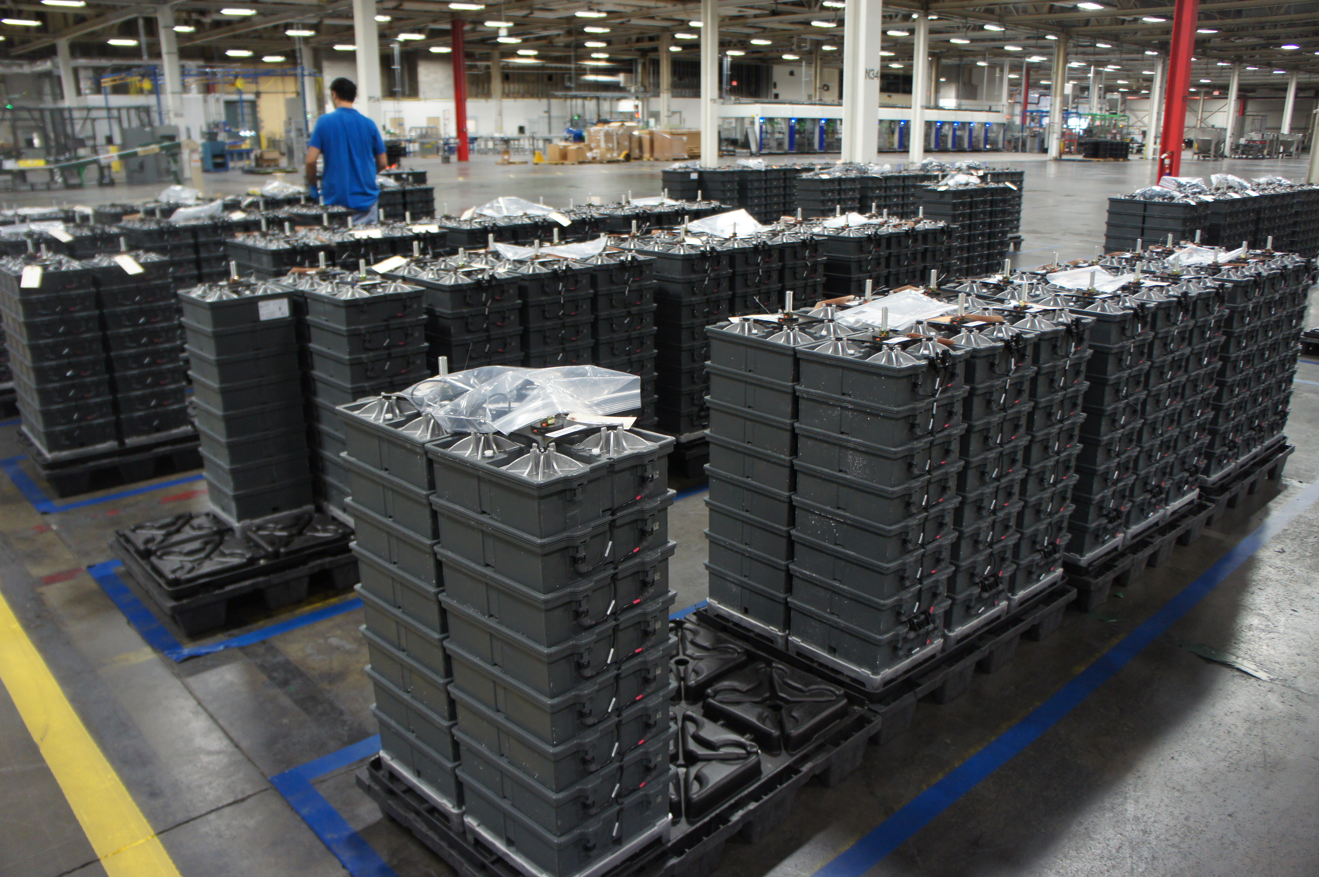 Batteries ready to ship at Aquion Energy's factory. Image courtesy of Katie Fehrenbacher, Gigaom.