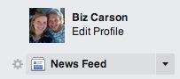 Facebook settings button