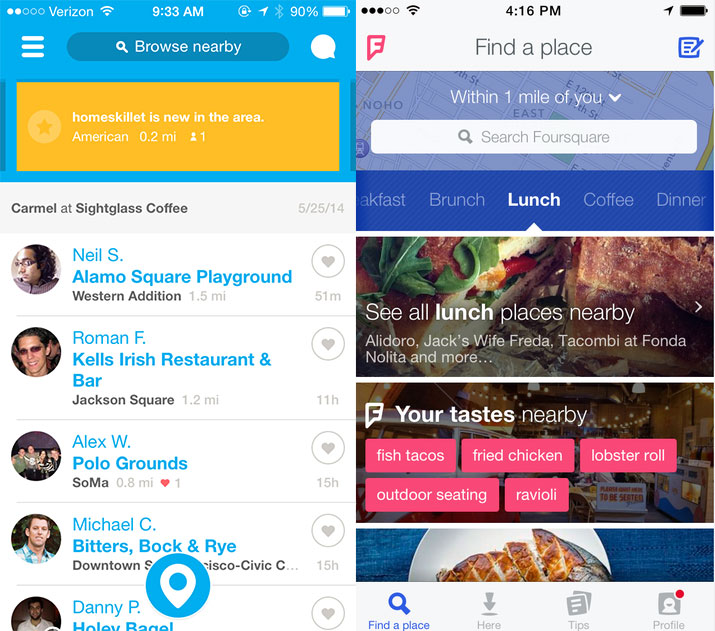 Foursquare's new home screen