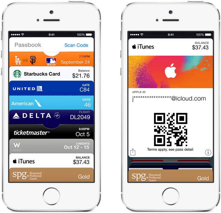 iPhone Gift Cards Passbook