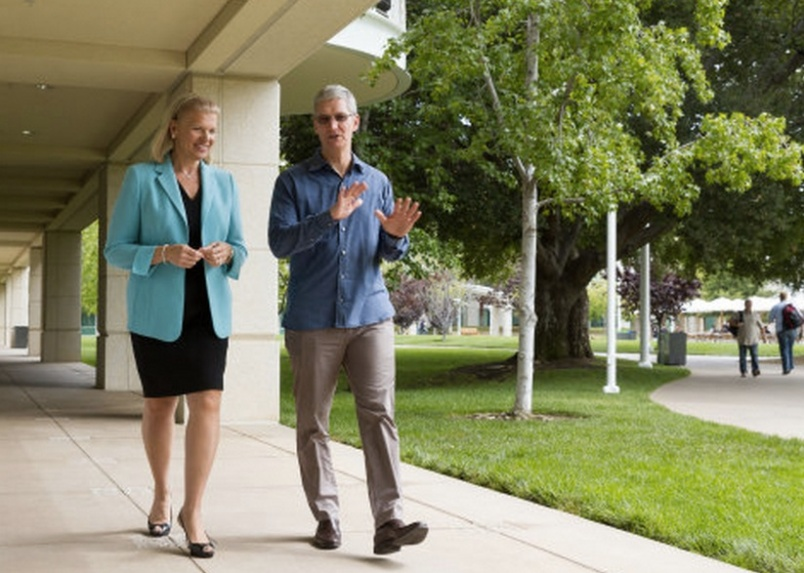IBM CEO Ginni Rometty and Apple CEO Tim Cook taking a casual stroll.
