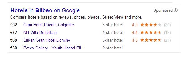 Google Bilbao hotel search