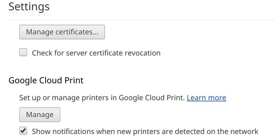 Google Cloud Print setting