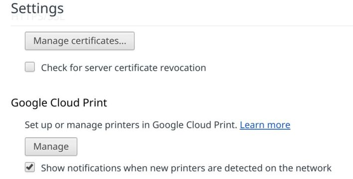 Google Cloud Print setting