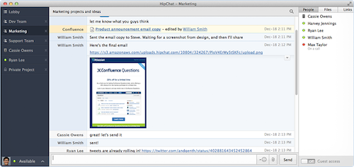 Graphic displaying HipChat's interface