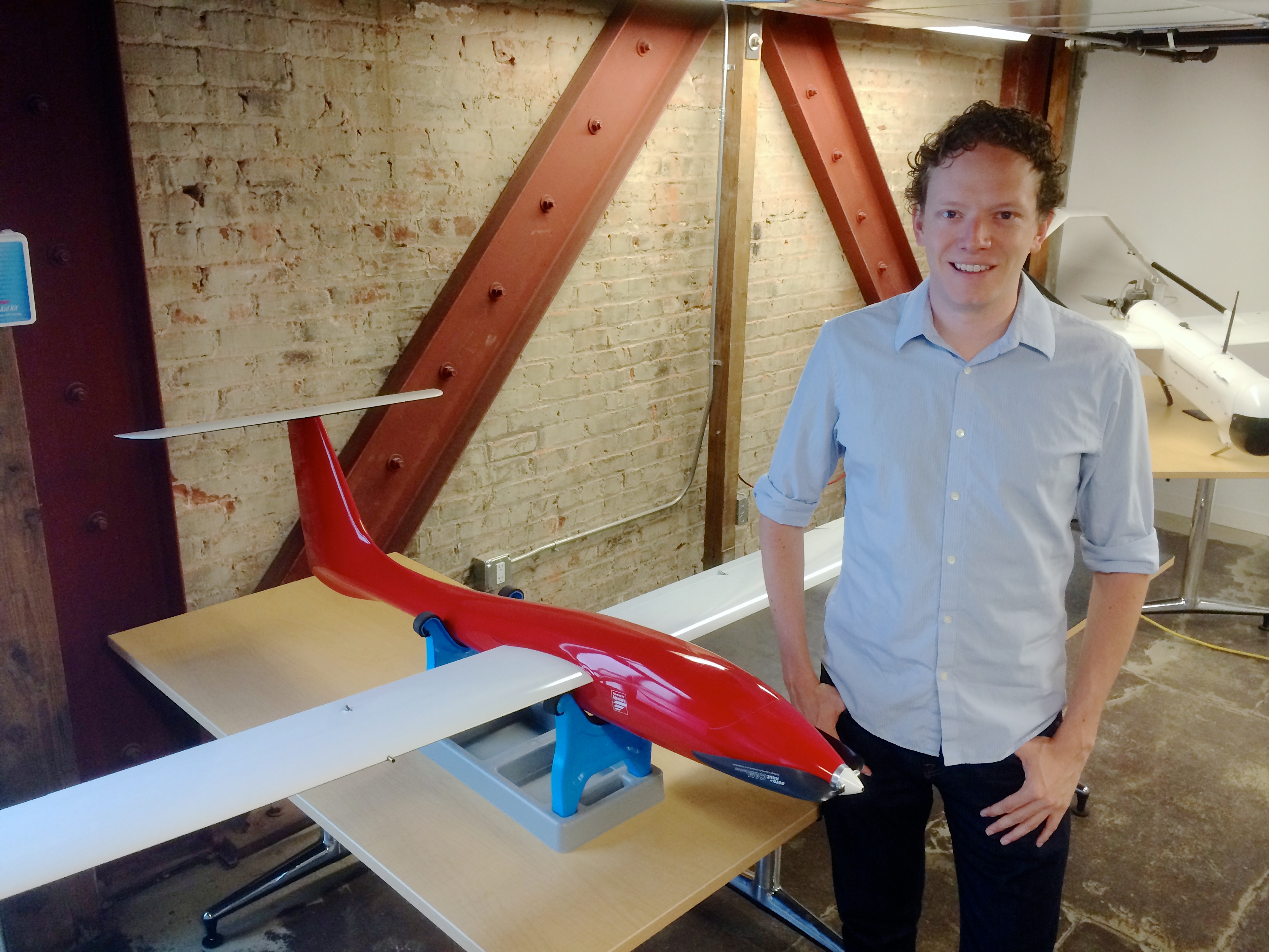 Airware founder and CEO Jonathan Downey with an Airware-equipped drone. Photo by Signe Brewster.