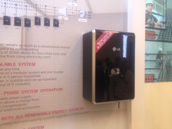 A battery for homes and businesses that LG showed off at their booth at Intersolar, image courtesy of Katie Fehrenbacher, Gigaom.