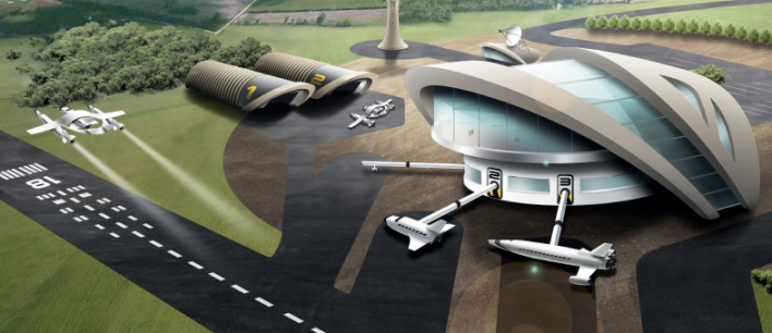 A mockup of the planned UK spaceport. Photo courtesy of the UK Space Agency.