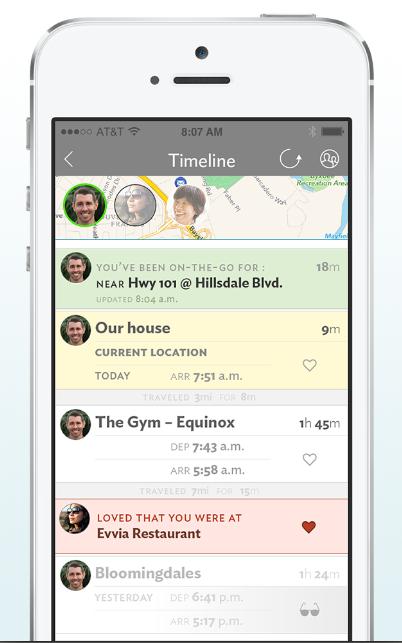 PlaceUs screenshot of daily activity