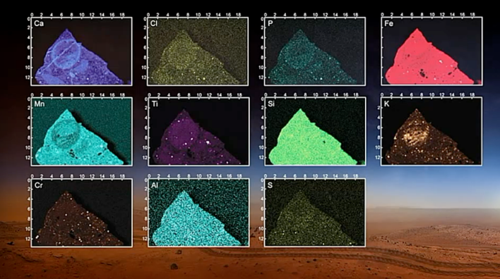 Images of the elemental composition of rock. Photo courtesy of NASA.