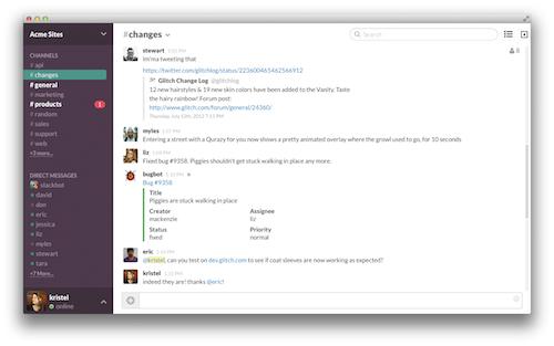 Graphic detailing Slack's interface