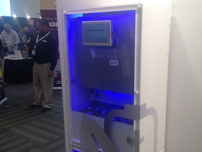 Sonnenbatterie's battery storage product shown off at Intersolar, image courtesy of Katie Fehrenbacher, Gigaom.
