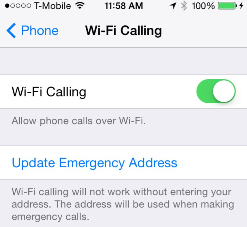 wi-fi calling on iPhone