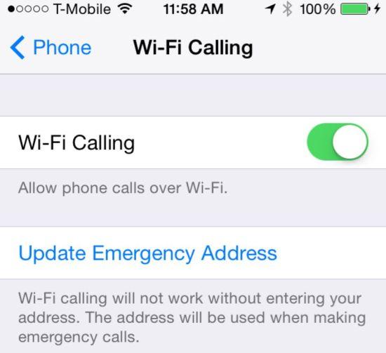 wi-fi calling on iPhone