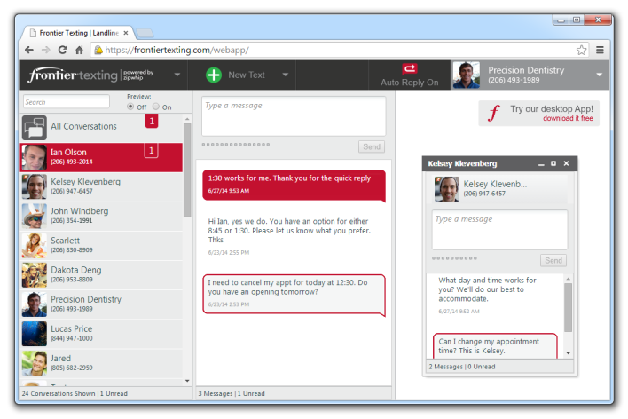 Frontier's virtual SMS client, which can be attached to any business landline number (source: Zipwhip)