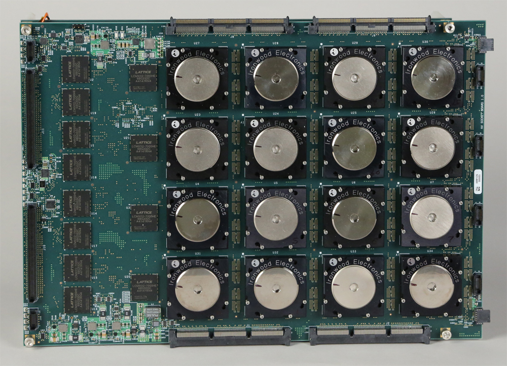 IBM built boards with 16 chips to demonstrate chip-to-chip communication. Photo courtesy of IBM.