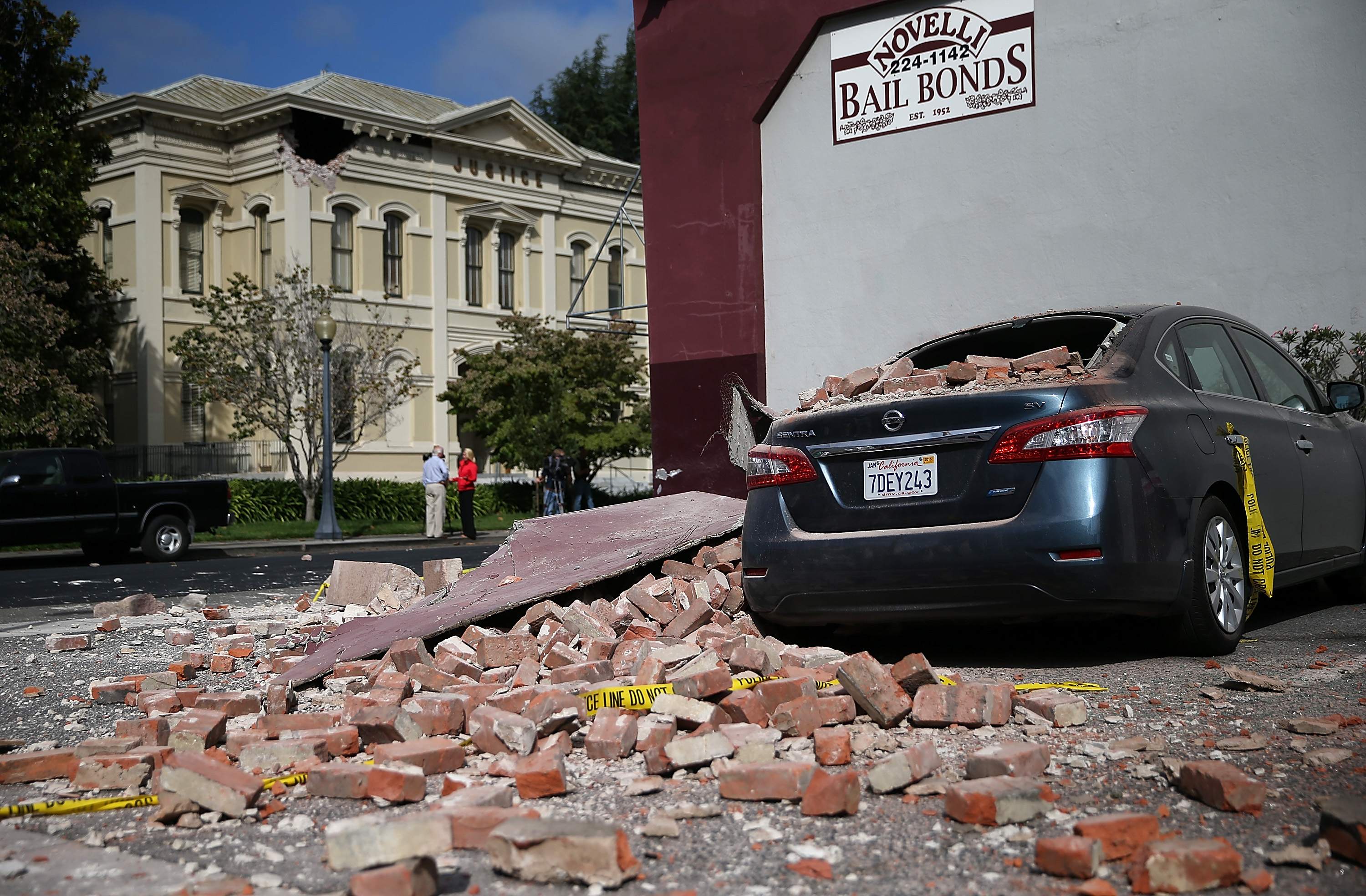 A car is seen covered in bricks following a reported 6.0 earthquake on August 24, 2014 in Napa, California. Justin Sullivan/Getty Images