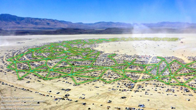 An example of how FireChat's ad hoc networking connects attendees at Burning Man (Photo credit Steve Jurvetson. Licensed under the Creative Commons Attribution 2.0 Generic license. Modified by Open Garden.)