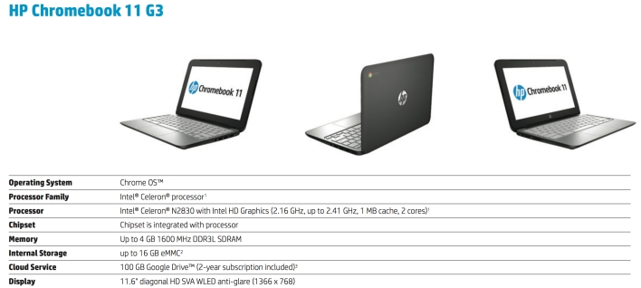 hp chromebook 11 g3 specs
