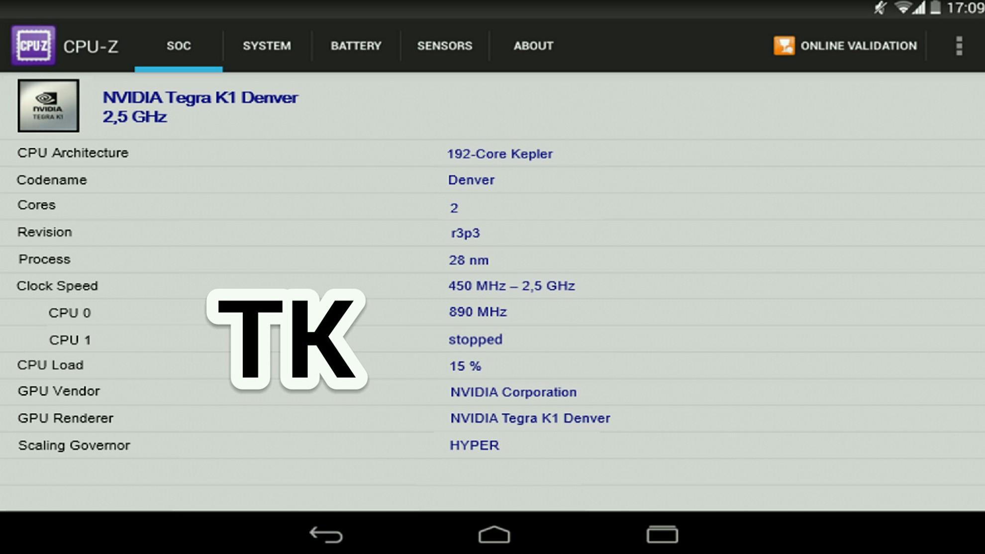 HTC Nexus 9 benchmark CPU