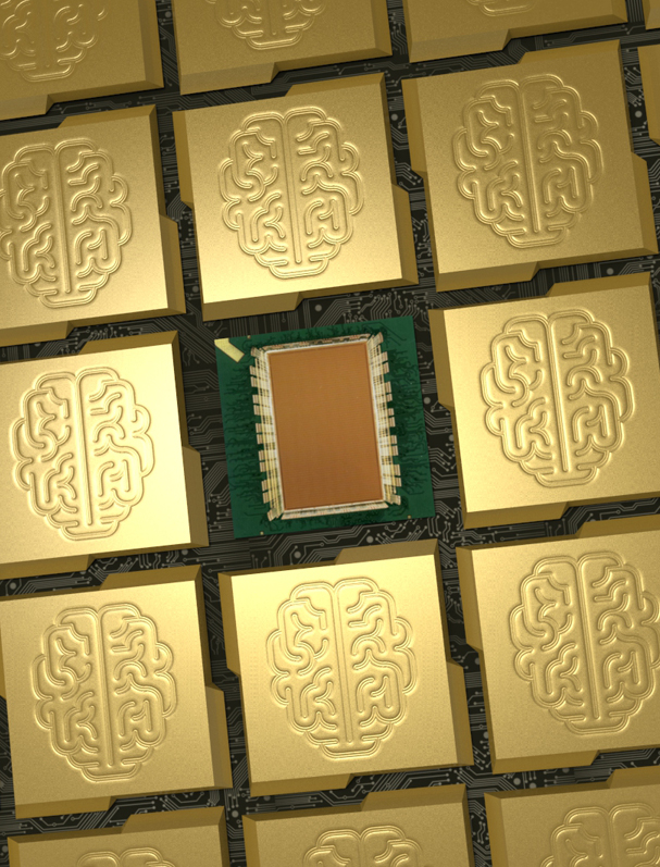 Artistic depictions of a scalable, tiled network of IBM's Synapse chip. Photo courtesy of IBM.