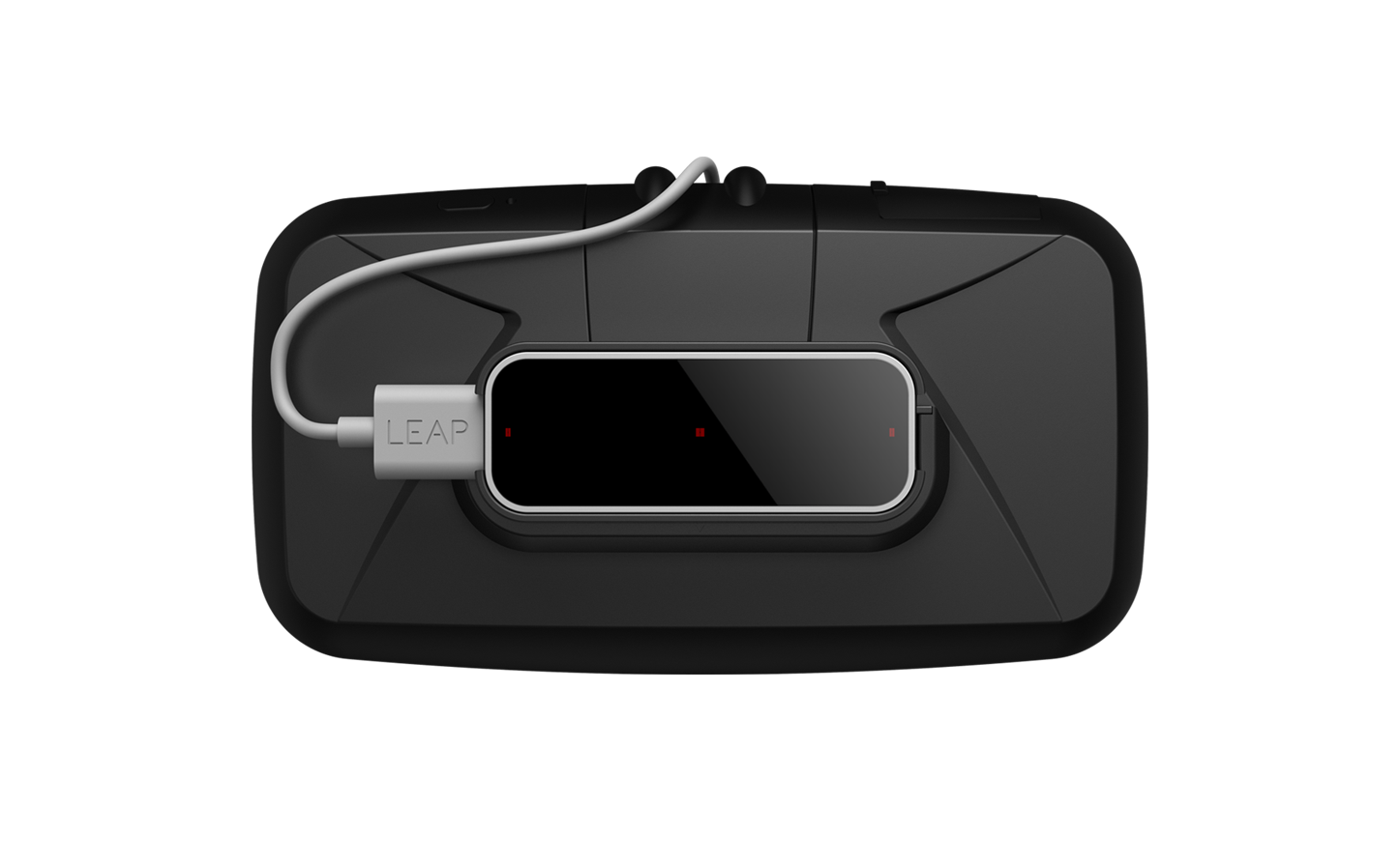 Leap Motion clipped to the front of Oculus Rift. Photo courtesy of Leap Motion.