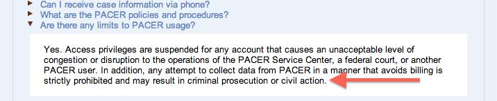 PACER warning screenshot