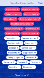 The new Foursquare app prompts you to pick a few of your favorite things
