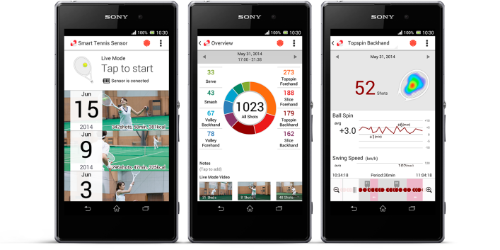 Sony's tennis tracking app.