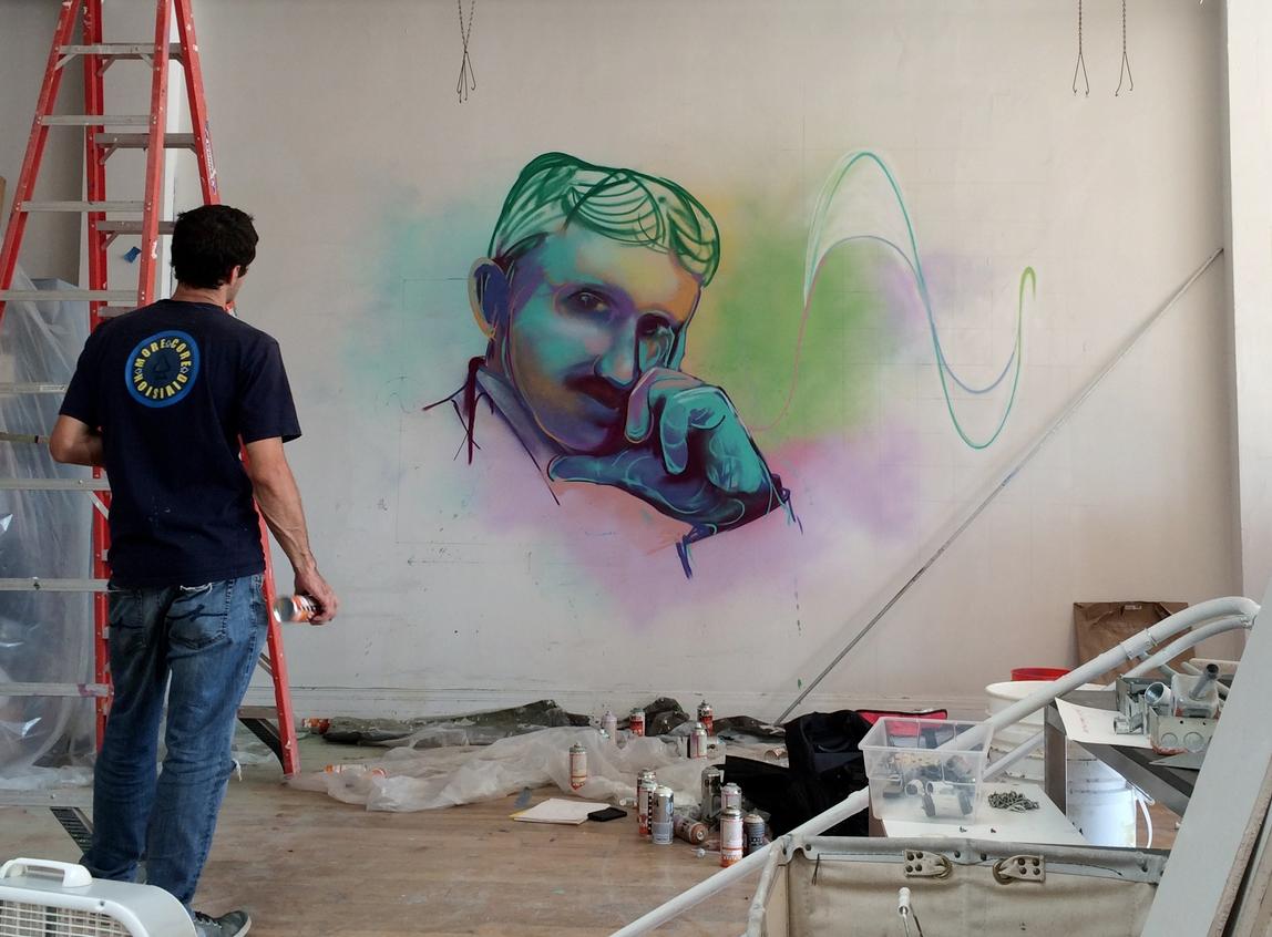 A new mural painted on a Noisebridge wall. Photo courtesy of Noisebridge.