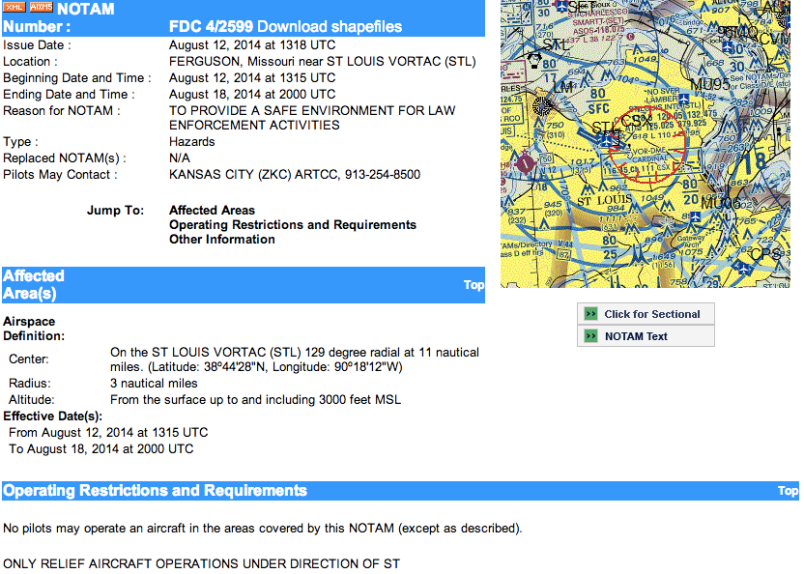 NOTAM screenshot
